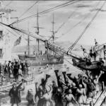 (2 - Ντύσου Καλά και Οργάνωσε Ένα Πάρτι) Άποικοι πετάνε το βρετανικό τσάι στο λιμάνι της Βοστόνης (λιθογραφία του 1846).